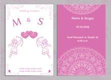 Satz Hochzeitseinladungen und -Ankündigungen Lizenzfreie Stockbilder