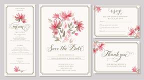 Satz Hochzeitseinladungs-Kartenschablonen mit Aquarell stilisieren Stockbild