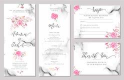 Satz Hochzeitseinladungs-Kartenschablonen mit rosafarbenen Blumen des Aquarells stock abbildung