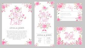 Satz Hochzeitseinladungs-Kartenschablonen mit rosafarbenen Blumen des Aquarells Lizenzfreies Stockfoto