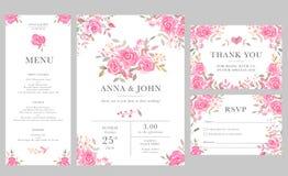 Satz Hochzeitseinladungs-Kartenschablonen mit rosafarbenen Blumen des Aquarells Lizenzfreie Stockbilder