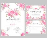 Satz Hochzeitseinladungs-Kartenschablonen mit rosafarbenen Blumen des Aquarells Stockbilder