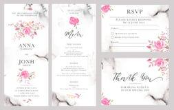 Satz Hochzeitseinladungs-Kartenschablonen mit rosafarbenen Blumen des Aquarells Stockfoto