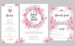 Satz Hochzeitseinladungs-Kartenschablonen mit rosafarbenen Blumen des Aquarells Stockfotos