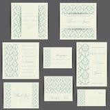 Satz Hochzeitseinladungskarten Stockbilder