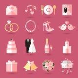 Satz Hochzeitsikonen in der flachen Art Lizenzfreie Stockfotografie