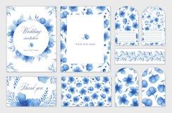 Satz Hochzeitskarten mit blauen Blumen Aquarellhandabgehobener betrag Einladung, Postkarte lizenzfreie abbildung