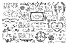 Satz Hochzeitsverzierungen und dekorative Elemente Lizenzfreie Stockfotos