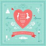 Satz Hochzeitsverzierungen und dekorative Elemente Lizenzfreie Stockfotografie