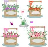 Satz Holzkisten mit Blumen lizenzfreie abbildung