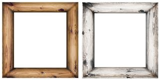 Satz Holzrahmen lokalisiert auf Weiß Stockbild