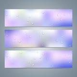 Satz horizontale bunte Fahnen mit Wasser Lizenzfreie Stockbilder