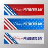 Satz horizontale Fahnen des modernen Vektors, Seitentitel mit Text für Präsidenten Day Fahnen mit Streifen und Sternen Lizenzfreie Stockfotografie