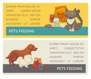 Satz horizontale Fahnen Haustier care Tierarztklinik Flaches Design Lizenzfreies Stockbild