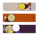 Satz horizontale Fahnen, Titel. Editable Entwurf Lizenzfreies Stockbild