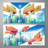 Satz horizontale Karikaturillustrationen, Fahnen, städtische Hintergründe mit Stadt gestalten landschaftlich Stockfotografie