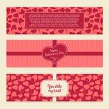 Satz horizontale Karten der Schablonen auf Valentinsgruß Lizenzfreie Stockbilder
