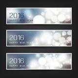 Satz horizontale neues Jahr-Fahnen - 2016 Stockfotografie