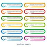 Satz horizontaler Effekt der Fahnen es Bürstenfarbe Lizenzfreie Stockfotos