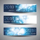 Satz horizontales Weihnachten, neues Jahr-Titel oder Fahnen - 2018 Lizenzfreies Stockbild