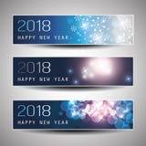 Satz horizontales Weihnachten, neues Jahr-Titel oder Fahnen - 2018 Lizenzfreies Stockfoto