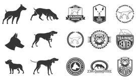 Satz Hundeikonen, -aufkleber und -Gestaltungselemente Stockfotografie