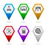 Satz-Ikone-Auto-Reparatur-Service-Auto-Wäsche-Zeichen-Zeiger Stockbilder