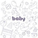 Satz Ikonen auf dem Thema der Kindheit und neugeborene, einfache Konturnikonen, dunkle Entwürfe auf hellem Hintergrund Stock Abbildung