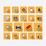 Satz Ikonen auf dem Thema des Designs mit Vektorschatten-Licht ora lizenzfreie abbildung