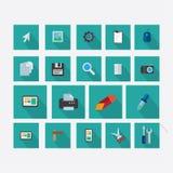 Satz Ikonen auf dem Thema des Designs mit Vektorschattengrün lizenzfreie abbildung