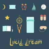 Satz Ikonen auf einem Thema des klaren Traums Lizenzfreies Stockfoto