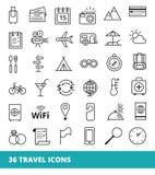 Satz Ikonen auf einer Thema Reise und einem Tourismus Lizenzfreies Stockbild