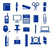 Satz Ikonen, Büroartikel im Blau Stockbilder
