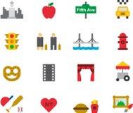 Satz Ikonen bezogen nach New York Stockfotos