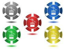 Satz Ikonen in der Farbe, Aufzug, Illustration Lizenzfreie Stockfotos