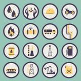 Satz Ikonen der Gas- und Erdölindustrie Lizenzfreies Stockfoto