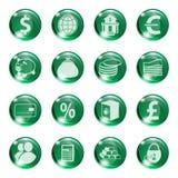 Satz Ikonen der grünen Farbe auf einer abhängigen Bank Lizenzfreie Stockfotografie