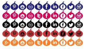 Satz Ikonen der sozialen Netzwerke lokalisiert für Halloween Lizenzfreie Stockfotografie