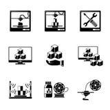 Satz Ikonen des Drucken 3D - Drucker, PC mit 3d Stockfotografie
