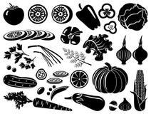 Satz Ikonen des Gemüses stock abbildung
