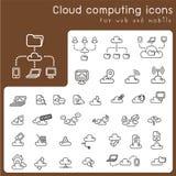 Satz Ikonen für die Wolkendatenverarbeitung Stockfotos