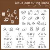 Satz Ikonen für die Wolkendatenverarbeitung Lizenzfreie Stockfotografie