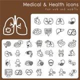 Satz Ikonen für Gesundheit und medizinisches Stockbild