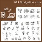 Satz Ikonen für gps und Navigation Lizenzfreie Stockfotografie
