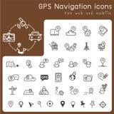 Satz Ikonen für gps und Navigation Lizenzfreies Stockfoto