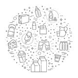 Satz Ikonen für Milch Stockfotos