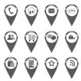 Satz Ikonen für Netz oder Markierungen auf Karten Stockfoto