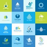 Satz Ikonen für alle Arten Wasser Lizenzfreies Stockbild