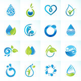 Satz Ikonen für Wasser und Natur Stockbild