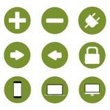 Satz Ikonen, grüner technologischer Fortschrittshintergrund Stockbilder